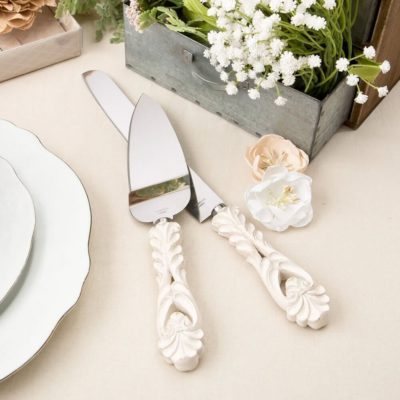 Vintage Cream Cake Knife _ Server Set