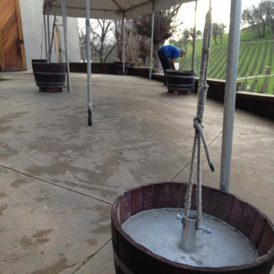 Wine Barrel Concrete Tie Down