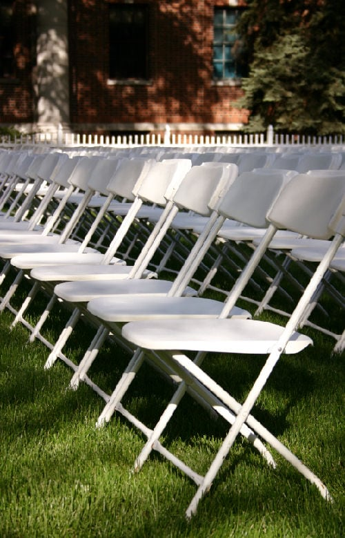 Enjoyable White Plastic Folding Chairs Wedding White Samsonite Wedding Creativecarmelina Interior Chair Design Creativecarmelinacom