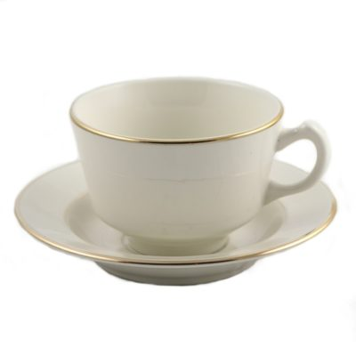 Coffee Cup - Ivory Gold Border