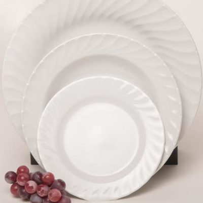 Plates - Classic White Swirl Collection 2