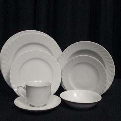 Plates - Classic White Swirl Collection