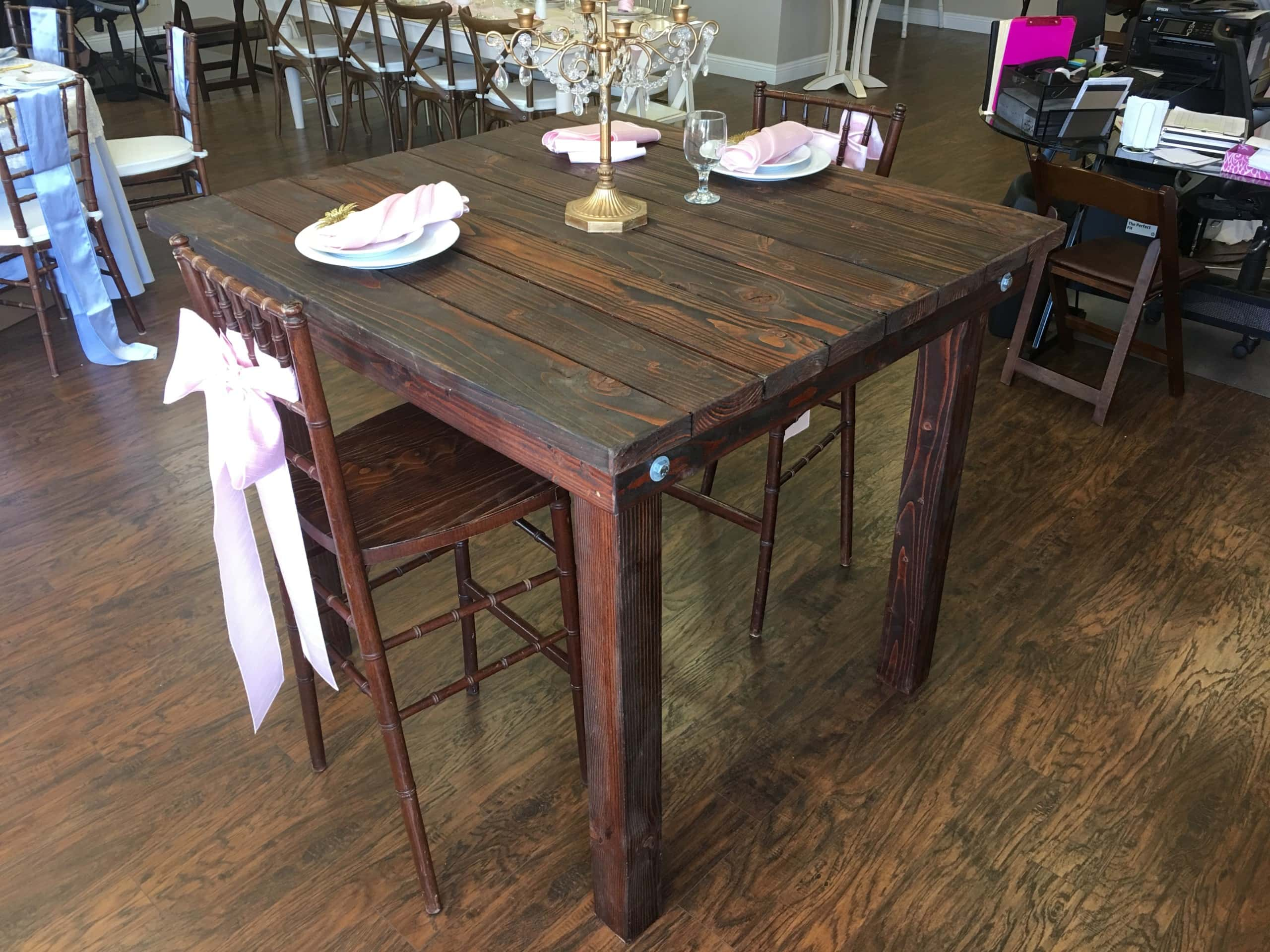 """Rustica Square Cocktail Table (48"""" x 48"""" x 42"""") Rental ..."""
