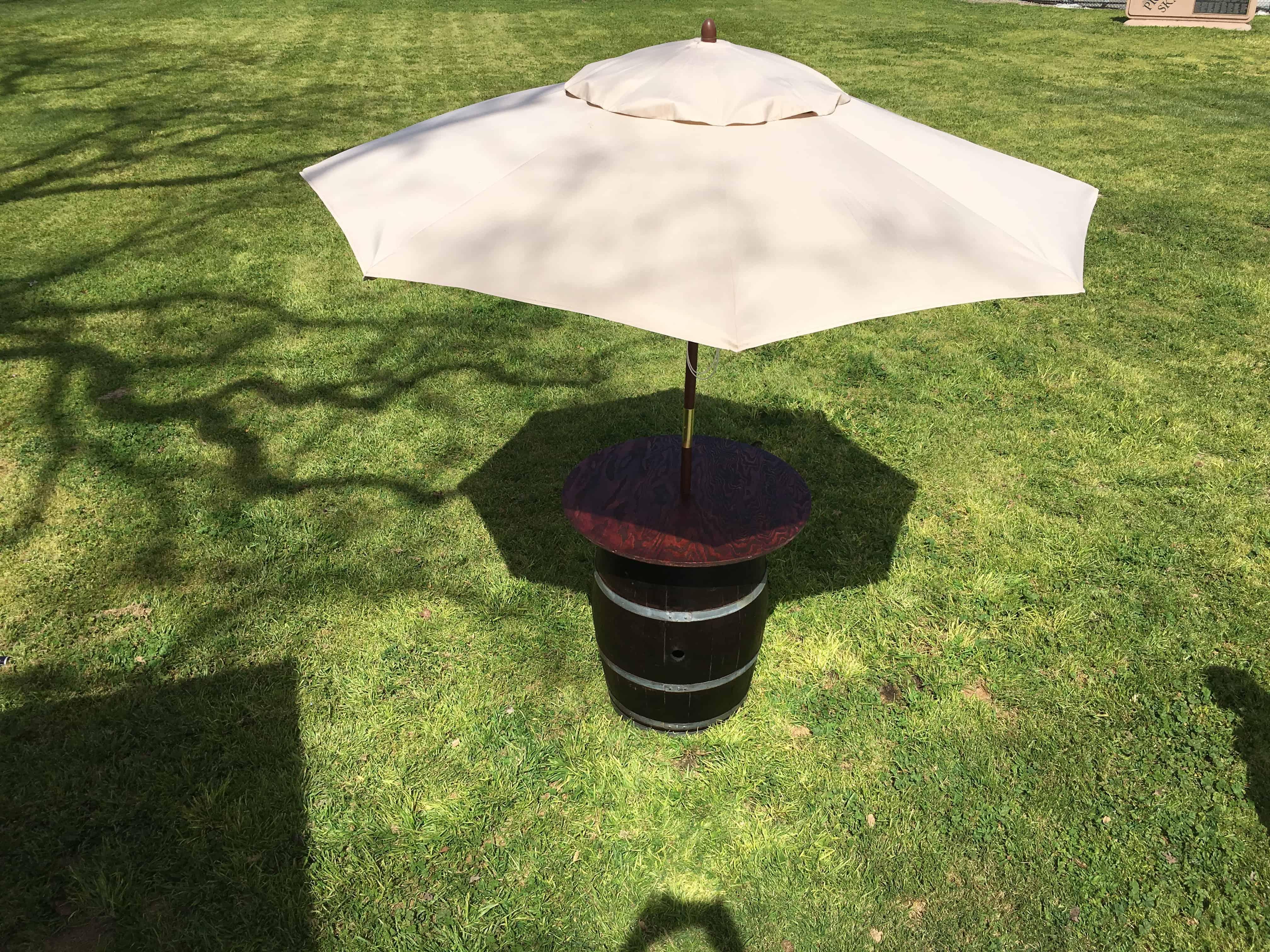 Market Umbrella (w/ A Wine Barrel Cocktail Table Base)