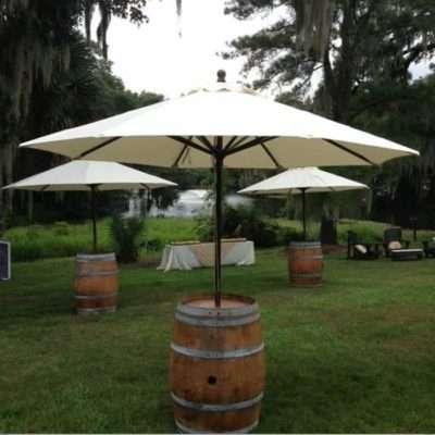 Wine Barrel with Market Umbrella