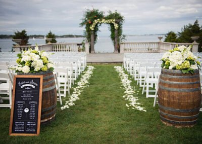 Rustic Wedding with White Resin Chairs _ Wine Barrels